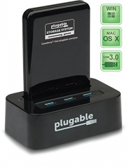 Plugable® Storage System 2.5 SATA III Hard Drive Docking Station with Built-in 3-Port USB 3.0 SuperSpeed Hub (ASMedia ASM1053E SATA III to USB Chipset, UASP and 6TB+ Drive Support, VIA VL812 B2 Hub Chipset with Latest v9091 Firmware. Windows, Mac OS X,